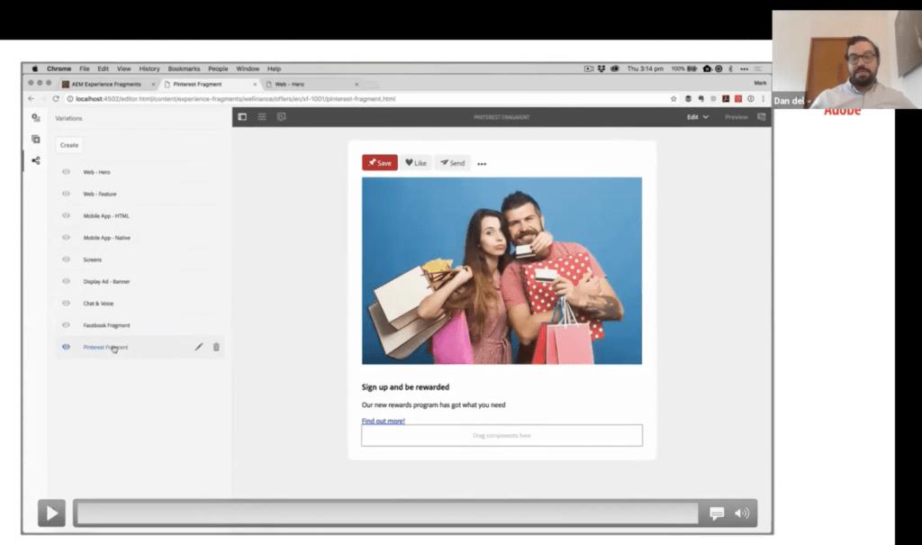 Captura pantalla herramienta Adobe Experience Manager